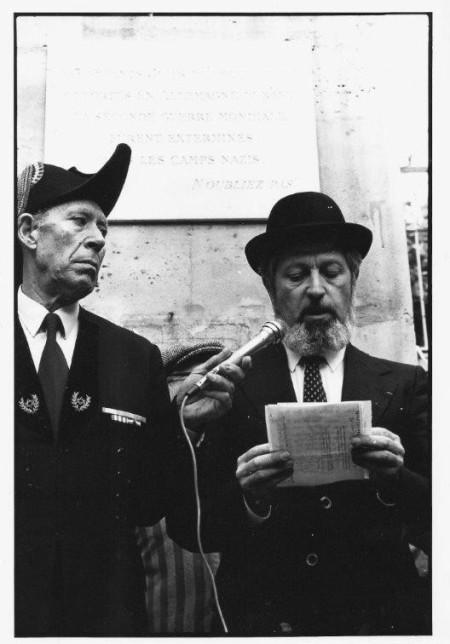 Commémoration pour les enfants juifs déportés, Rabbin Goldman, Rue des Hospitalières St Gervais, 1980 ou 82